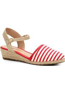 Sandália Anabela Shoestock Espadrille Linho Feminina - Feminino-Vermelho