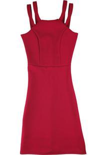 Vestido Vermelho Curto Com Alça Dupla
