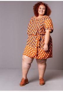 Vestido Ciganinha Poá Laranja Plus Size