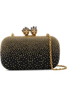 Alexander Mcqueen Queen & King Embellished Clutch - Preto