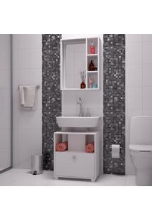 Conjunto De Gabinete De Banheiro Com Armário Aéreo Budapest Branco