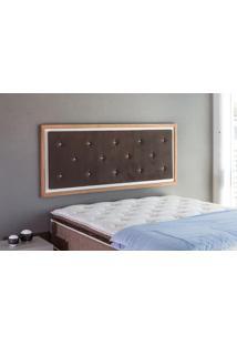 Painel Cabeceira Para Cama Casal Box Tecido Suede Marrom E Madeira Cor Jatobá - 150X62,7X3 Cm