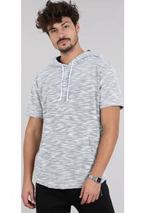 Camiseta Masculina Em Moletom Flamê Com Bolso E Capuz Manga Curta Cinza Mescla Claro