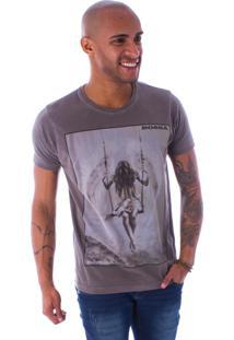 Camiseta Bossa Decote Canoa Balance Castanho Marrom