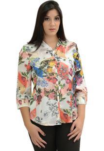 Camisa Moché Estampada - Feminino-Coral
