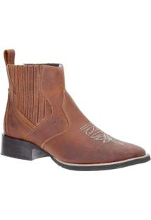 Bota Couro Bico Quadrado Western Via Boots Masculina - Masculino-Marrom Claro