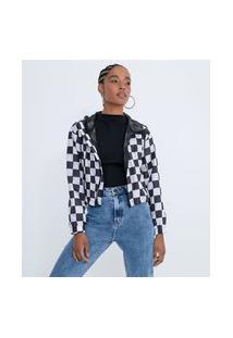 Jaqueta Corta-Vento Cropped Com Capuz E Estampa Quadriculada | Blue Steel | Preto | M