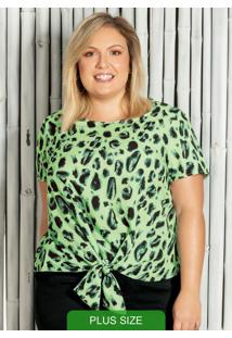 Blusa Com Estampa Animal Print Verde