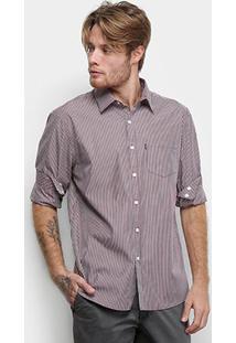 Camisa Manga Longa Ellus Listrada Shadow Striped Bolso Masculina - Masculino-Bordô