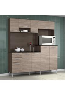 Cozinha Compacta 9 Portas 2 Gavetas Gisele 423 Capuccino/Amêndoa - Poquema