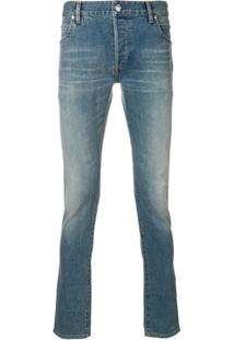 Balmain Calça Jeans Reta - Azul