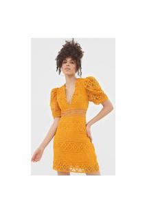 Vestido Colcci Curto Renda Amarelo