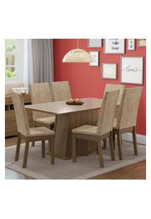 Conjunto Sala De Jantar Madesa Thaís Mesa Tampo De Vidro Com 6 Cadeiras Marrom