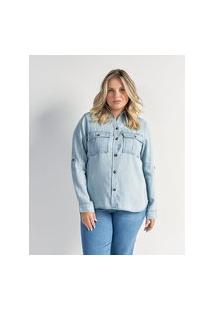 Camisa Lisa Em Liocel Com Bolsos De Lapela Curve & Plus Size | Ashua Curve E Plus Size | Azul | G