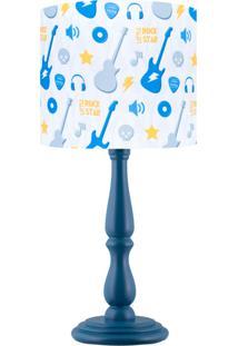 Abajur Carambola Little Rock Star Azul E Branco