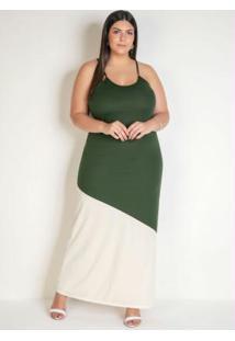 Vestido Longo Verde E Off White Plus Size