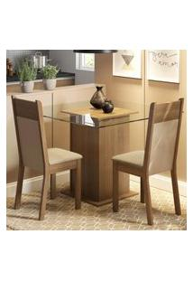 Conjunto Sala De Jantar Madesa Lau Mesa Tampo De Vidro Com 2 Cadeiras - Rustic/Crema/Pérola Marrom