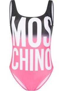 Moschino Maiô Com Estampa De Logo - Rosa