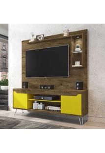 Estante Para Tv Até 52 Polegadas 2 Portas 4 Prateleiras Gabbana 2075349 Rústico/Amarelo - Bechara Móveis