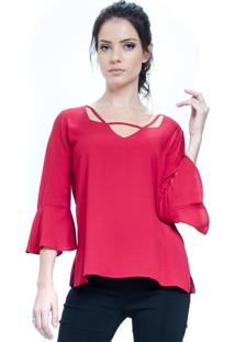 Blusa 101 Resort Wear Tunica Decote V Viscose Vermelho