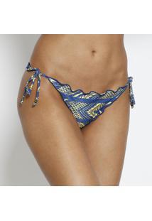 Calcinha Tanga Geomã©Trica Com Amarraã§Ã£O- Azul & Amarela