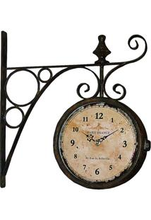 Relógio De Parede Estação Paris France Preto Oldway