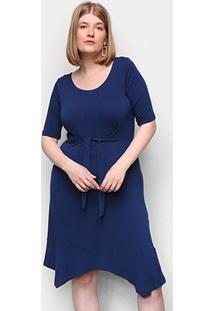 Vestido Naif Plus Size Curto Floral Amarração - Feminino-Marinho