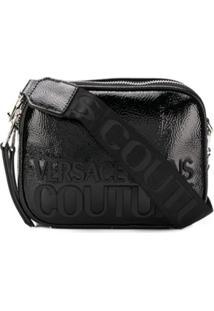 Versace Jeans Couture Bolsa Transversal Com Estampa De Logo E Brilho - Preto