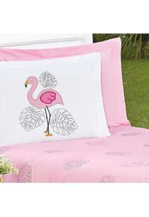 Porta Travesseiro Flamingo Rosa 2 Peças Ione Enxovais