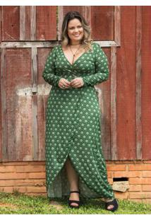 Vestido Longo Transpassado Estampado Plus Size