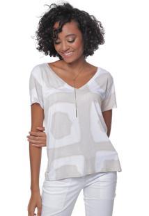 Camiseta Estampada Manga Curta Sob Tie Dye Areia