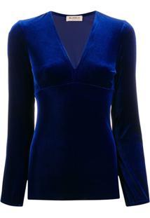 Blanca Vita Blusa De Veludo Com Decote Em V - Azul