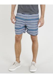 Short Masculino Listrado Com Bolsos Azul Marinho