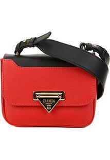 Bolsa Couro Carmim Mini Bag Silvana Transversal Feminina - Feminino-Vermelho+Preto