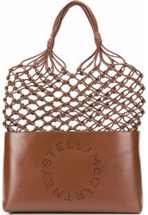 Stella Mccartney Bolsa Tote Trançada Com Logo - Marrom