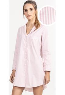 Camisão De Pijama Em Algodão Listrado