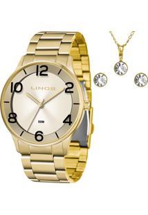 Kit Relógio Lince Feminino Com Colar E Brincos Lrg4603Lkw21C2Kx