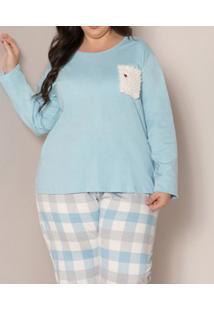 Pijama Longo Xadrez Com Bolso Pzama (90017) Plus Size