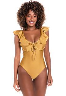 Maiô Body Aro Kalini Beachwear Ciganinha Proteção Uv+Gold