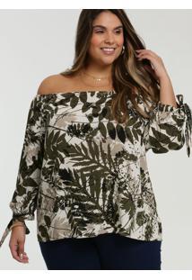 Blusa Feminina Ombro A Ombro Folhas Plus Size Marisa