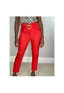 Calça Skinny Detalhe Pesponto Cós Vermelha