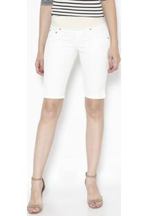 Bermuda Em Sarja Com Elástico - Off White & Bege Clarodbz Jeans