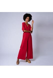 Macacão Mercatto Malha Lisa Transpassado Feminina - Feminino-Vermelho Escuro