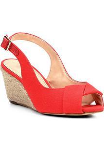 Sandália Shoestock Anabela Lona Feminina - Feminino-Vermelho