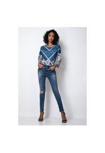Calça Skinny Diana Lança Perfume Jeans Azul