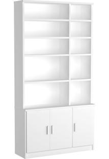 Estante Livraria 3 Portas 1280 Branco Foscarini