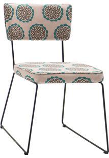 Cadeira Roma Aço Tecido Daf Bege/Bege