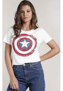 Blusa Feminina Capitão América Manga Curta Decote Redondo Off White