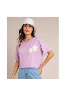 Camiseta Cropped De Algodão Com Margarida Manga Curta Decote Redondo Lilás