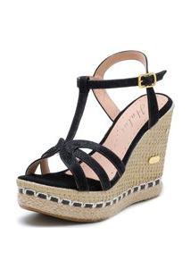 Sandália Sb Shoes Anabela Ref.3230 Preto